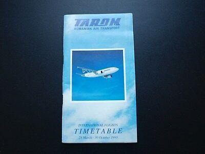 Tarom Romanian Air Transport International Timetable 1993 With Seat Plans