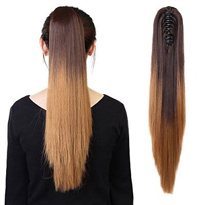 "Neverland Beauty 20""50cm Ombre Two Tone Long Straight Clip in/on Wavy Ponytail"