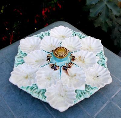 Unusual Vintage French 12 Well Majolica Master Oyster Seafood Plate +Centre Knob