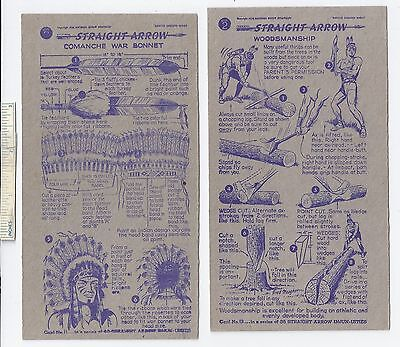 #48 Lot of 6 Diff 1949 1950 NABISCO INJUN-UITY Cards Book #1 & 2 Straight Arrow