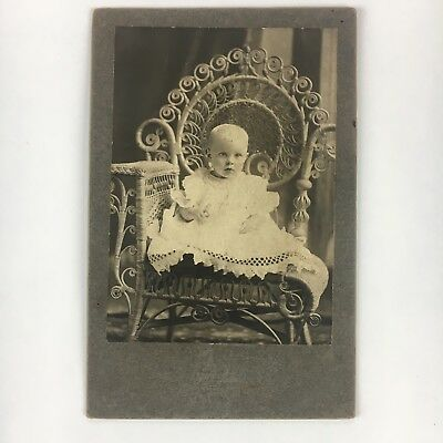 Antique Vintage Cabinet Card adorable Baby infant Wicker Chair Windom Minnesota