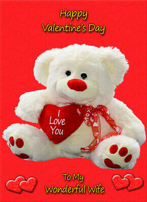Valentines Day Teddy Bear Card - Wife Husband Fiance Partner Soulmate Boyfriend