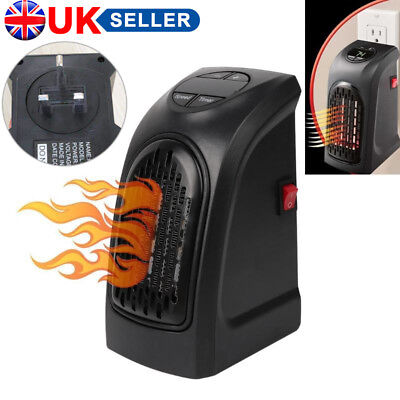 400W 220-240V Mini Space Heater Portable Plug-in Electric Wall-outlet Furnace UK