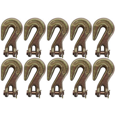 "(10)- Clevis Grab Hooks 3/8"" for G70 Wrecker Chain Tow Tie Down Flatbed Trailer"