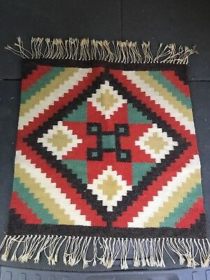 Antique CHIMAYO ORTEGA'S SOUTHWEST NAVAJO GERMANTOWN PATTERN WOOL BLANKET RUG