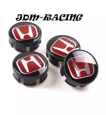HONDA ALLOY WHEEL CENTRE HUB CAPS BLACK/RED fits ACCORD CR-V CIVIC TYPE R 69mm