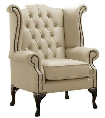 Chesterfield Armchair Queen Anne High Back Wing Chair Shelly Ivory Cream Leather