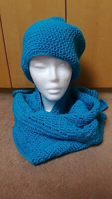 Ladies Crocheted Hat and Triangle scarf turquoise blue