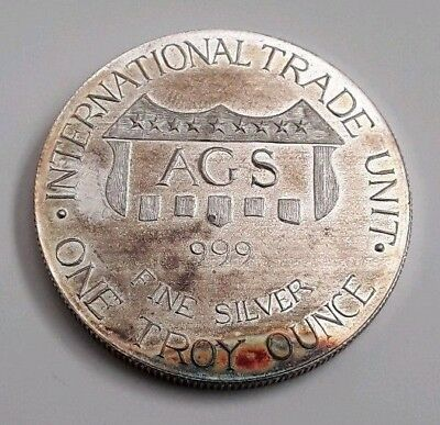 AGS - American Gold & Silver Inc. 1 Troy Oz .999 Fine Silver Round RARE VINTAGE