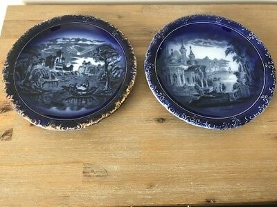 Lot Of Two Antique 19Th Century European Blue Plates ~ Copenhagen