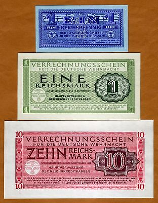 Set, Nazi Germany, Wehrmacht 1;1;10, WWII 1944, M32;M38;M40, Military, UNC