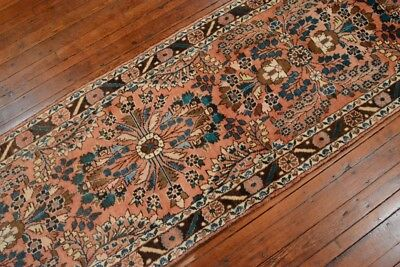 Vintage Persian Malayer Design Runner, 3'x22', Coral/Brown, All wool pile