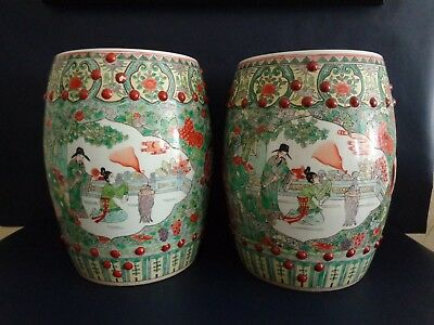 Pair of Large Chinese Garden Stools - Colorful Painted Ancient Courtiers - Heavy