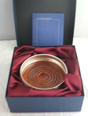 Contemporary Boxed Solid Silver Wine Bottle Coaster - London 2002
