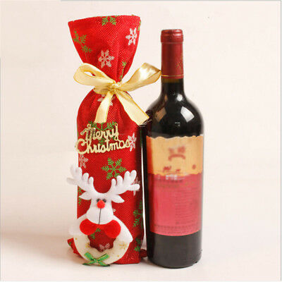 Christmas Wine Bottle Bag Red Wine Bottle Gift Covers With Drawstring 8C