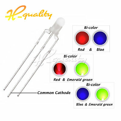 100PCS F3 3mm 3-Pin Dual Bi-Color Diffused Common Cathode LED Diode LIGHT