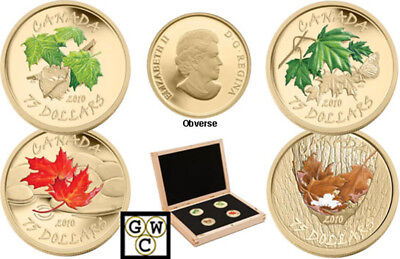 2010 Set of All 4 Proof $75 Gold 14K 'Maple Leaf' Coins(All Four Seasons)(12691)