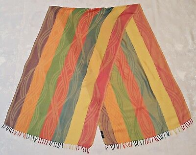 Vintage Authentic Striped Blue Yellow Pink 100% Silk Long Women's Fringe Scarf