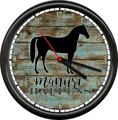 Barn Wood Horse Equestrian Rider Manure Happens Funny Gift Sign Wall Clock