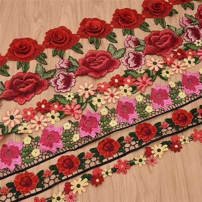 1 Yards Colorful Rose Flowers Floral Lace Trims Embroidered Ribbon For Sewing