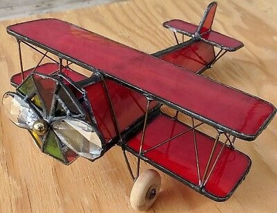 Red stained glass airplane / biplane hand-made kaleidoscope
