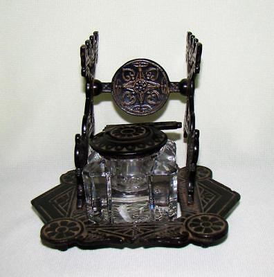 Antique Ornate Eastlake Victorian Cast Metal Ink Well W/glass Insert