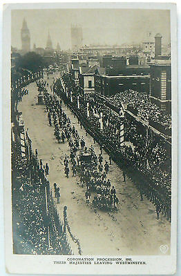 Postcard.coronation Procession 1911.their Majesties Leaving Westminster Rp Image