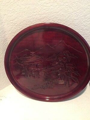 Vintage hand carved wooden Serving Tray chinese japanese oriental scenic deer