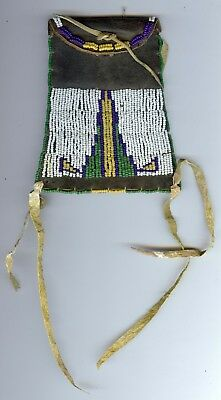 Antique 1890's American Indian Northern Plains Strike A Lite Beaded Leather Bag