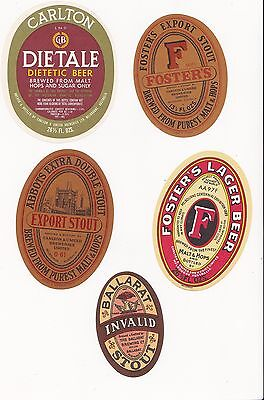 5 Old Australian Beer Labels Nice Lot