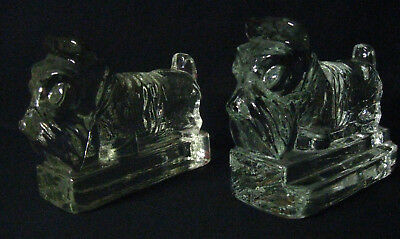 Pair of Vintage Heavy Solid Glass Scottie Dog Bookends, Scottish Terrier REDUCED