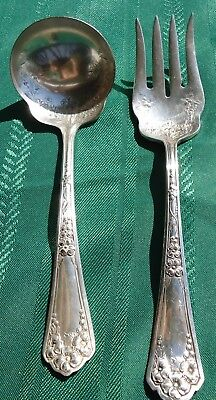 Vintage 1912 Wm.Rogers & Sons Silverplate Meat Fork,Gravy Ladle Serving Pieces