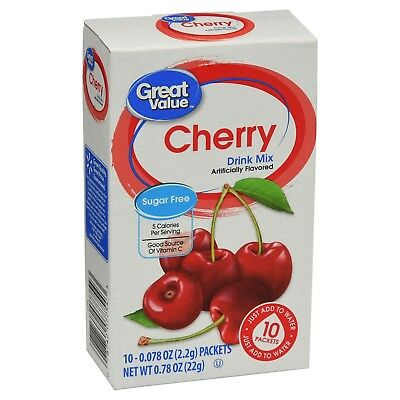 2 Boxes Of Great Value Cherry ~ On The Go ~ Drink Mix Water Enhancer