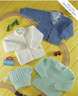 Baby Knitting Pattern copy DK Includes PREMMIE Size 8 Ply Sweater Cardigans