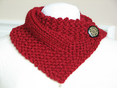 Hand Knit True Red  Neck Warmer Scarf Wrap with Button Closure - Handmade
