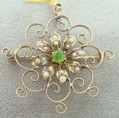 Gold Victorian Pin with Rare Demantoid Green Garnet (#J1780)