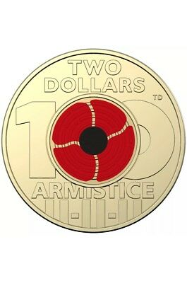 2018 coloured $2 dollar remembrance coin Day UNC In Coin Case
