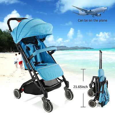 Blue - Compact Lightweight Baby Stroller Pram - Travel Carry-on Plane- Foldable