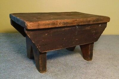 Primitive Wood Stool - (antique - milking step foot - rustic/shabby - wooden)