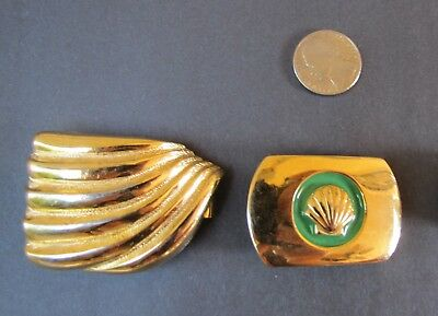 Two Vintage Signed Dotty Smith Belt Buckles Lot of 2 Gold tones