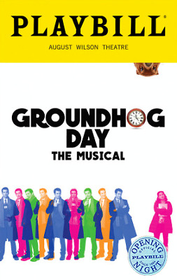 Silver Seal Color Groundhog Day Playbill Andy Karl  Barrett Doss  Opening Night