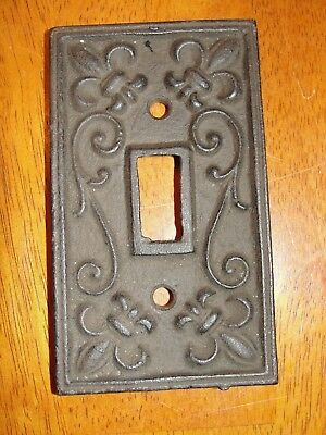 Vintage Cast Iron - Metal Single Light Switch Plate Cover Carved w/o Screws
