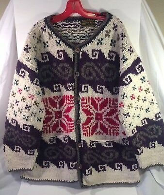 Vintage HAND KNIT Nordic SWEATER 90s WOOL CARDIGAN Red Purple Ivory XL Oversize