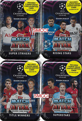 2018 2019 Topps UEFA Champions League Match Attax Collectors Tins LOT of 4 Types