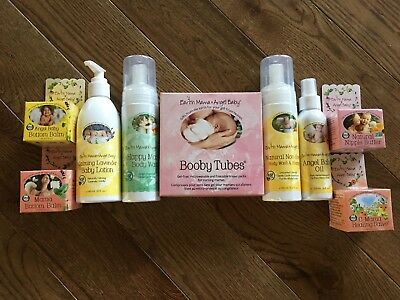 NEW HUGE Earth Mama Angel Baby Booby Nipple Organic Balm Wash Oil Lotion Cream
