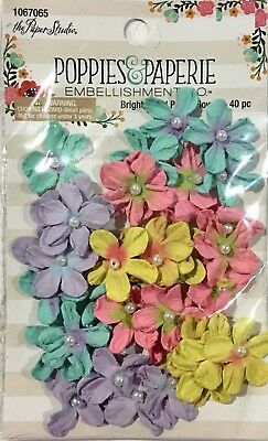The Paper Studio Poppies & Paperie Embellishments Bright Pearl Flowers 40Pc