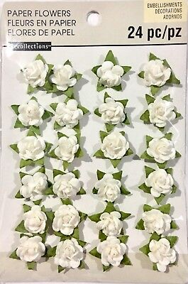 Recollections Embellishments Paper Flowers 24 White Coloured Pieces