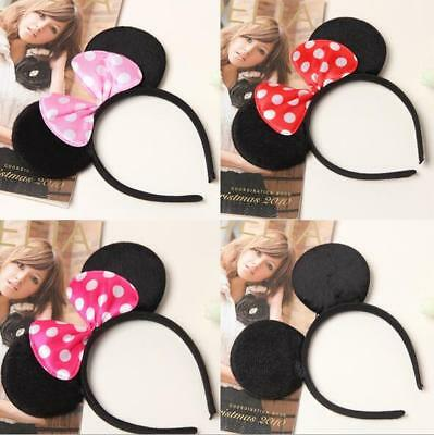 1x Black Mickey Mouse Red Hairband Hot Pink Minnie Hair Card Party Ear Headbands