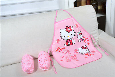 3pcs Kawaii Hello Kitty Sleeveless Waterproof Kid's Aprons & Cuff Kitchen Tools
