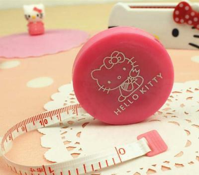 1x Pink Hello Kitty Automatic Telescopic Measuring Tapes Cartton Mini Ruler 1.5M